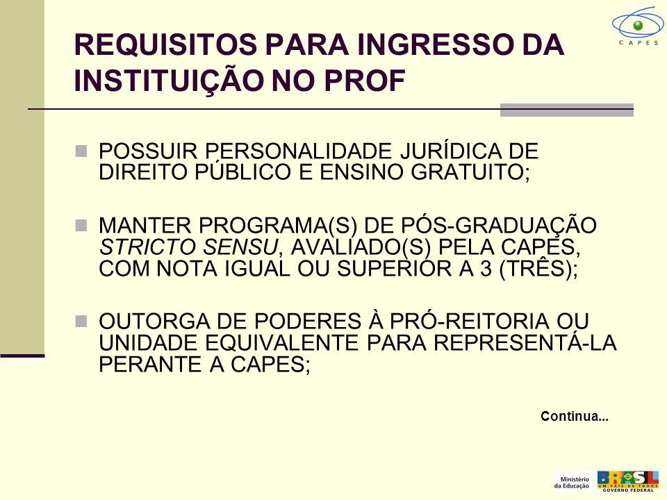 REQUISITOS PARA INGRESSO DA INSTITUIÇÃO NO PROF