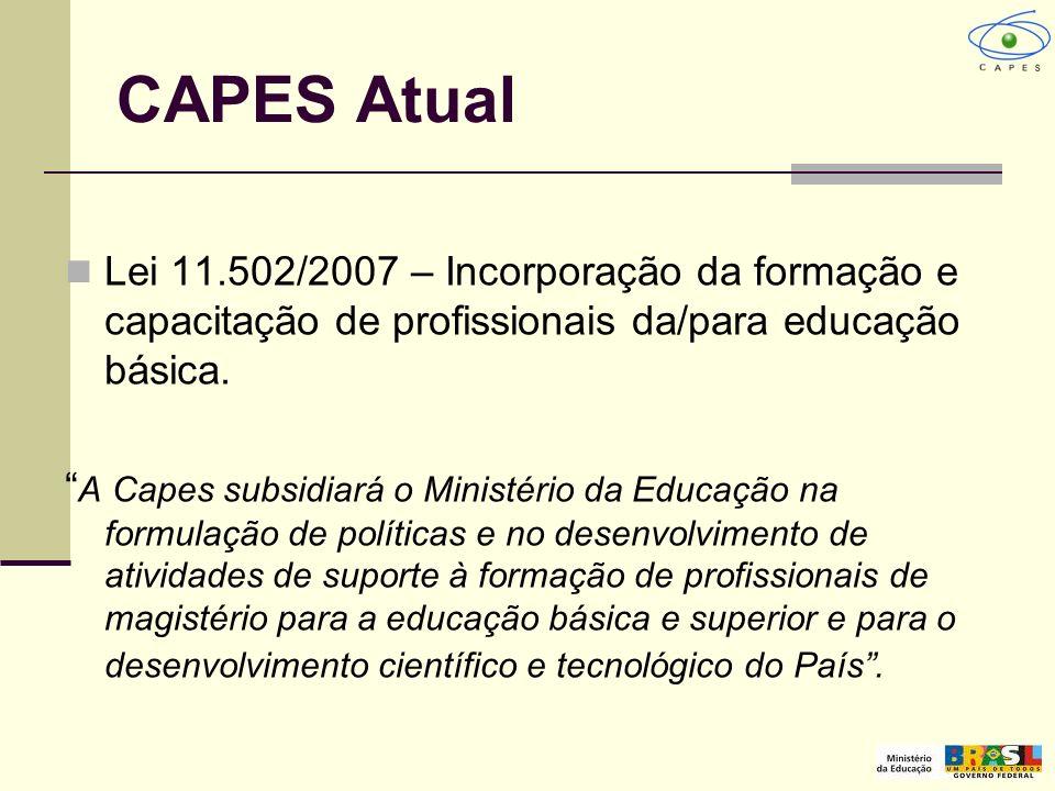 CAPES Atual Lei 11.502/2007 – Incorporação da formação e capacitação de profissionais da/para educação básica.
