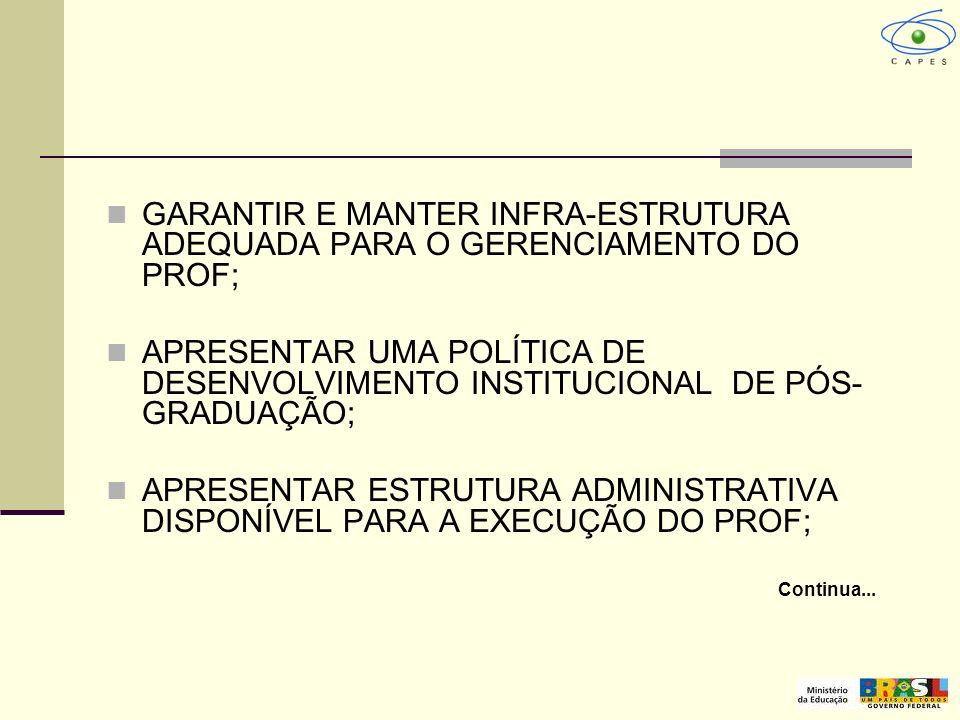 GARANTIR E MANTER INFRA-ESTRUTURA ADEQUADA PARA O GERENCIAMENTO DO PROF;