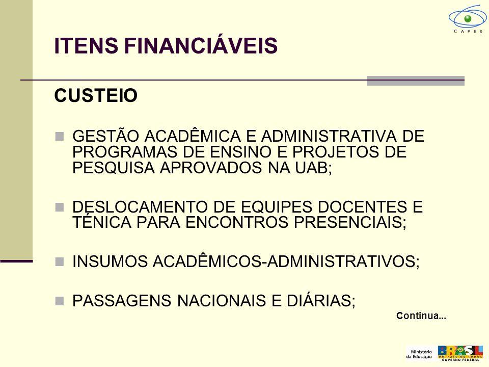 ITENS FINANCIÁVEIS CUSTEIO