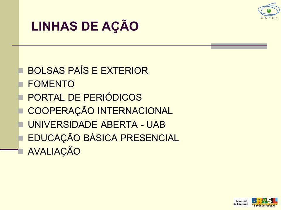 LINHAS DE AÇÃO BOLSAS PAÍS E EXTERIOR FOMENTO PORTAL DE PERIÓDICOS