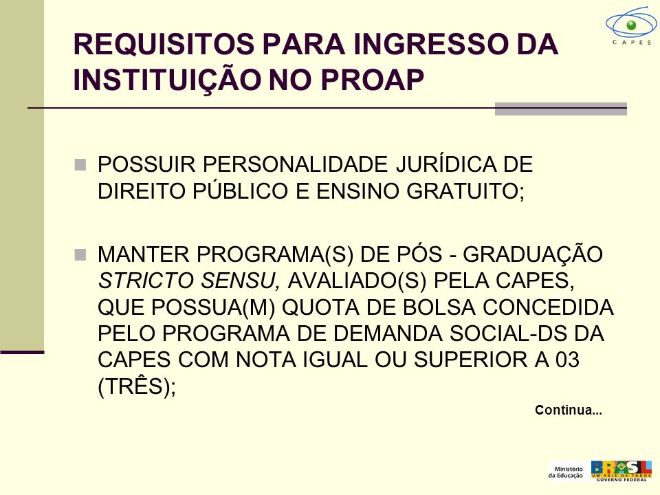 REQUISITOS PARA INGRESSO DA INSTITUIÇÃO NO PROAP