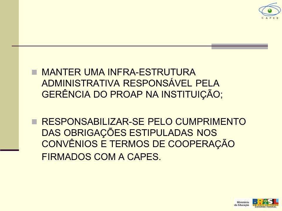 MANTER UMA INFRA-ESTRUTURA ADMINISTRATIVA RESPONSÁVEL PELA GERÊNCIA DO PROAP NA INSTITUIÇÃO;