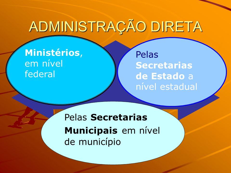ADMINISTRAÇÃO DIRETA Ministérios, em nível federal Pelas Secretarias