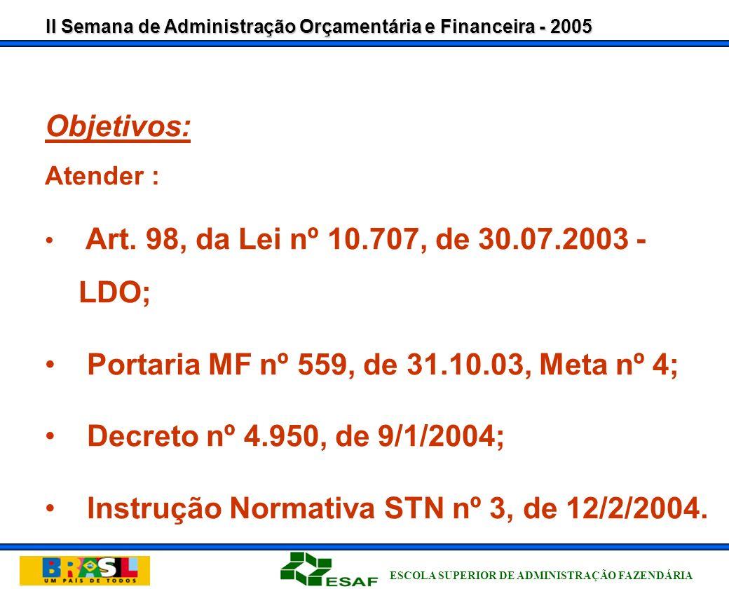 Portaria MF nº 559, de 31.10.03, Meta nº 4;