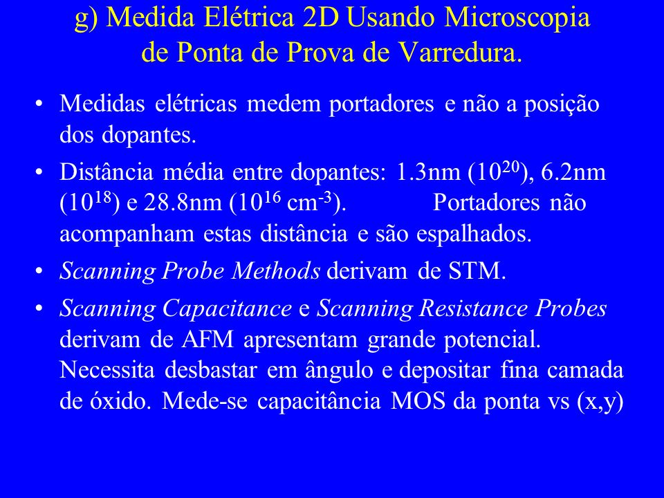 g) Medida Elétrica 2D Usando Microscopia de Ponta de Prova de Varredura.