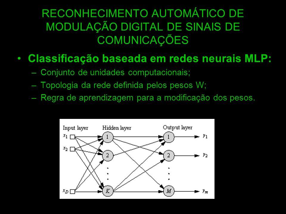 Classificação baseada em redes neurais MLP: