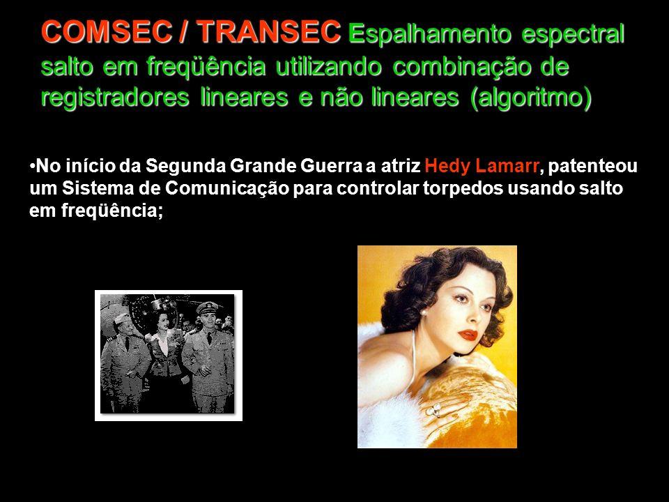 COMSEC / TRANSEC Espalhamento espectral salto em freqüência utilizando combinação de registradores lineares e não lineares (algoritmo)