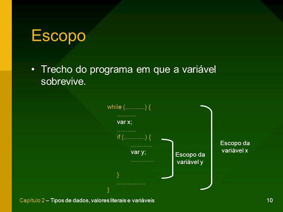 Escopo Trecho do programa em que a variável sobrevive.