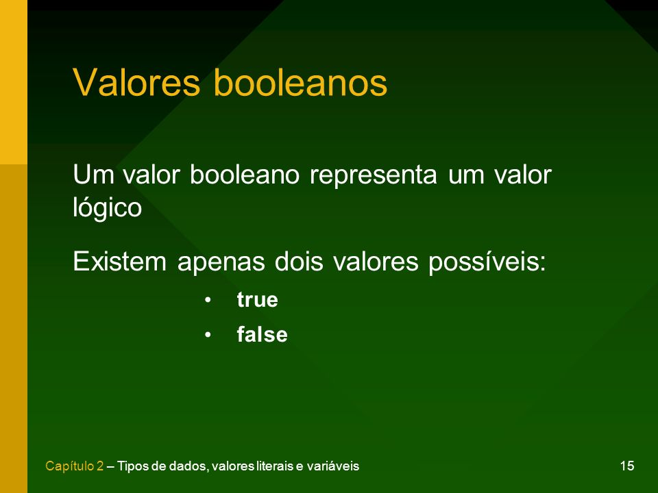 Valores booleanos Um valor booleano representa um valor lógico