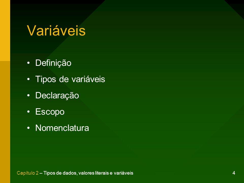 Variáveis Definição Tipos de variáveis Declaração Escopo Nomenclatura