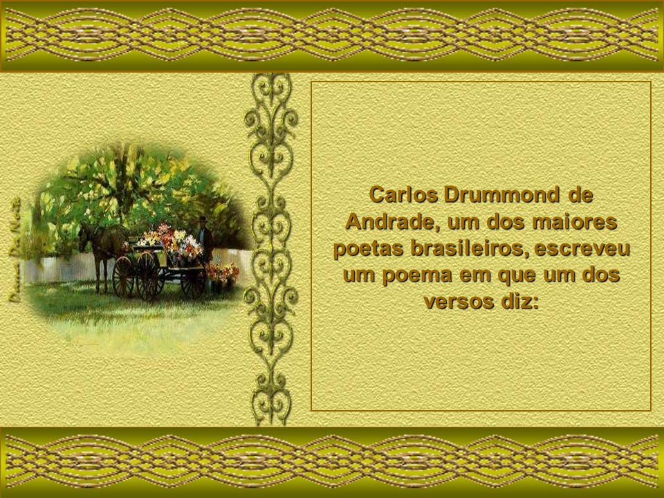 Carlos Drummond de Andrade, um dos maiores poetas brasileiros, escreveu um poema em que um dos versos diz: