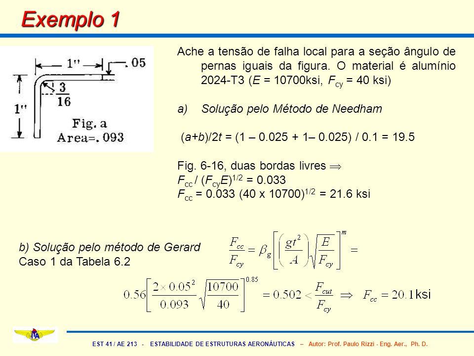 Exemplo 1 Ache a tensão de falha local para a seção ângulo de pernas iguais da figura. O material é alumínio 2024-T3 (E = 10700ksi, Fcy = 40 ksi)