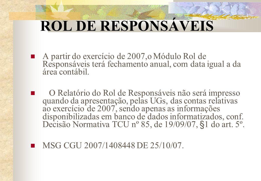 ROL DE RESPONSÁVEIS A partir do exercício de 2007,o Módulo Rol de Responsáveis terá fechamento anual, com data igual a da área contábil.