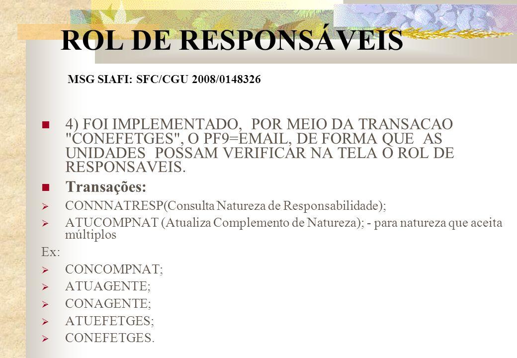 ROL DE RESPONSÁVEIS MSG SIAFI: SFC/CGU 2008/0148326