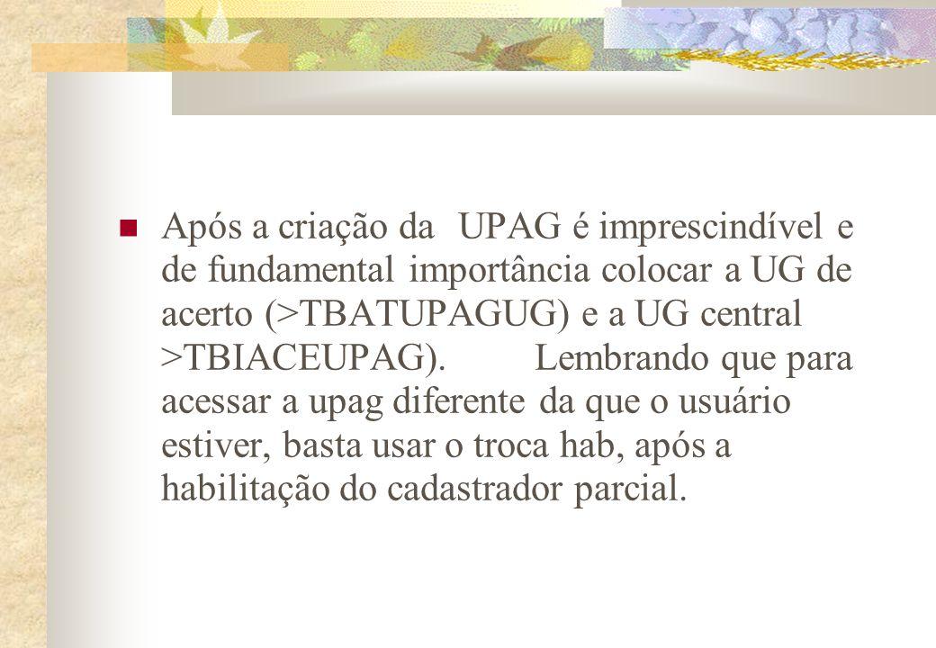 Após a criação da UPAG é imprescindível e de fundamental importância colocar a UG de acerto (>TBATUPAGUG) e a UG central >TBIACEUPAG).