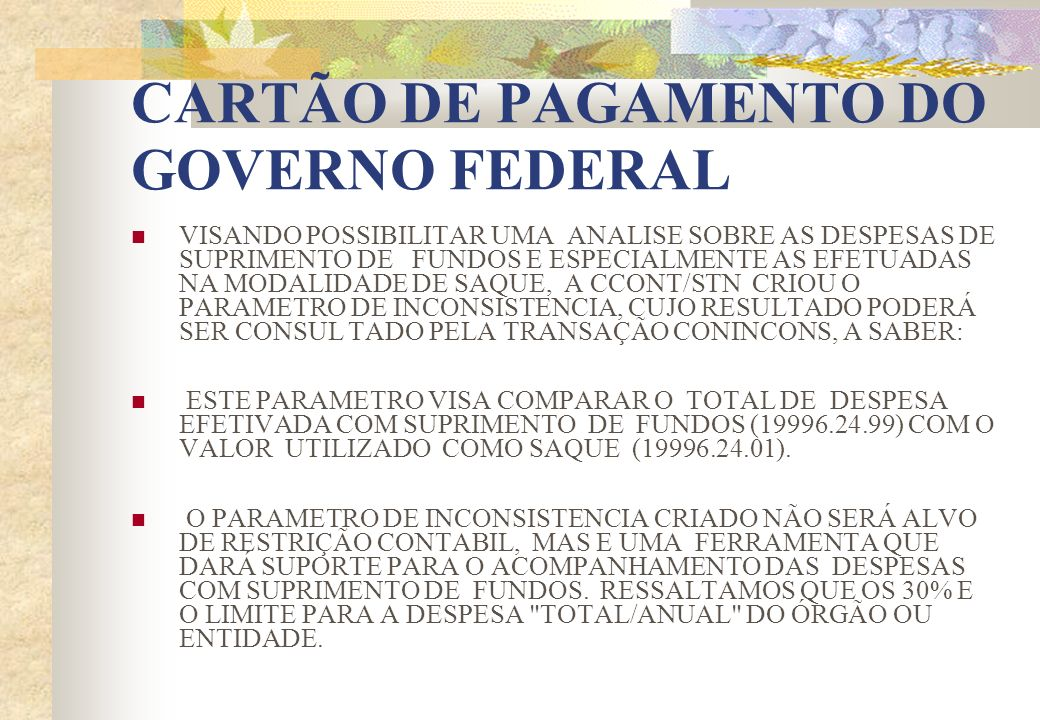 CARTÃO DE PAGAMENTO DO GOVERNO FEDERAL