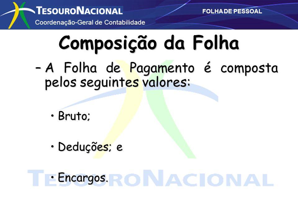 Composição da Folha A Folha de Pagamento é composta pelos seguintes valores: Bruto; Deduções; e.