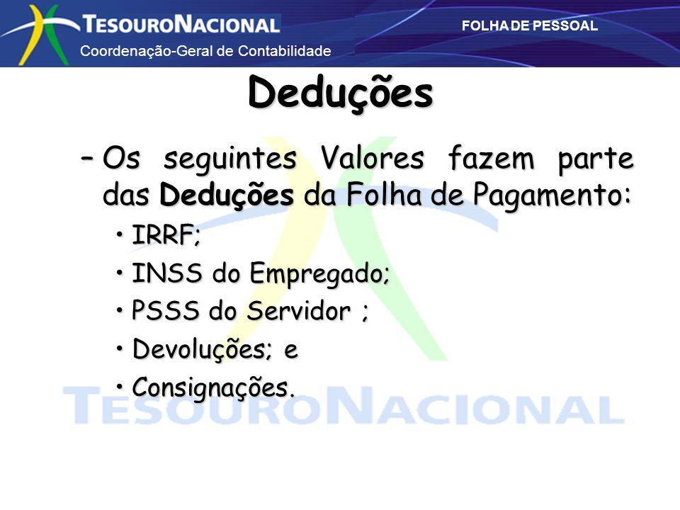 Deduções Os seguintes Valores fazem parte das Deduções da Folha de Pagamento: IRRF; INSS do Empregado;