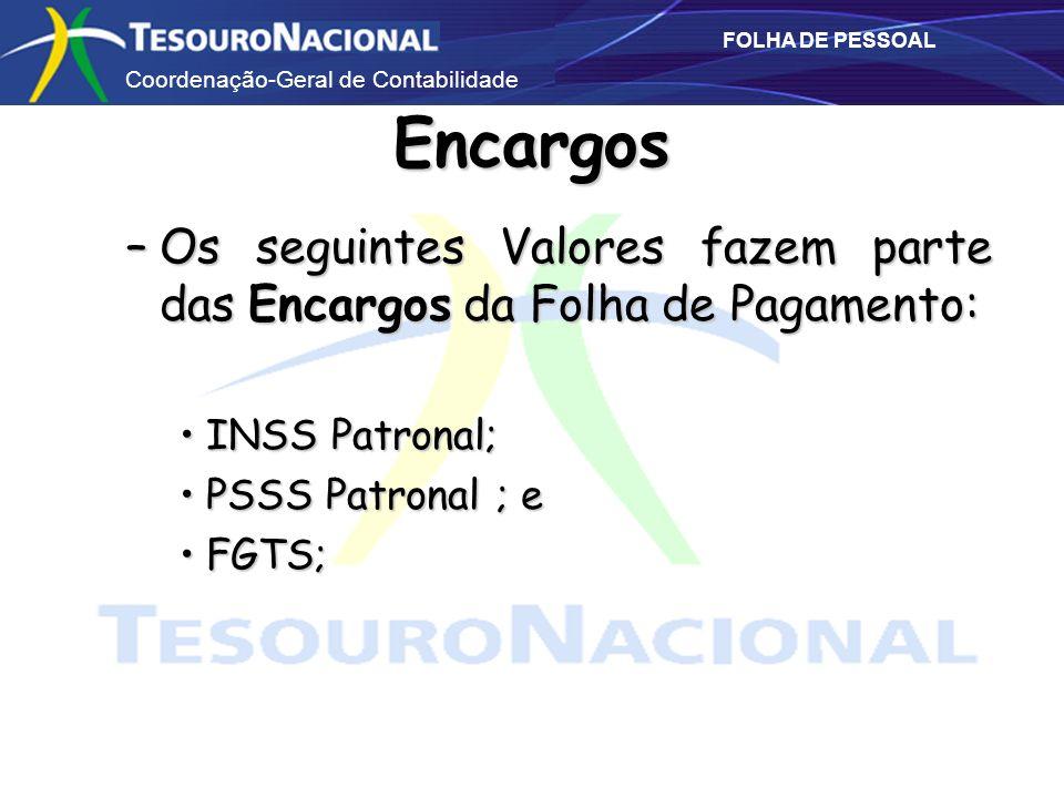 Encargos Os seguintes Valores fazem parte das Encargos da Folha de Pagamento: INSS Patronal; PSSS Patronal ; e.
