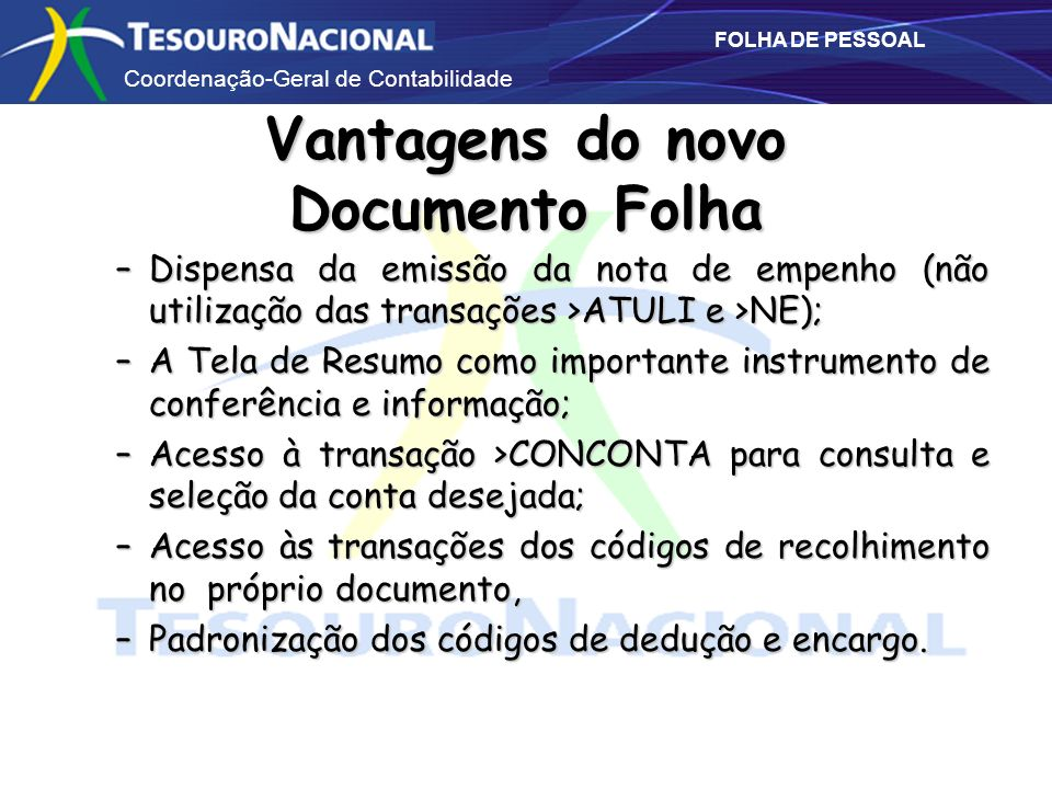 Vantagens do novo Documento Folha