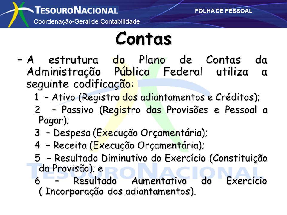 Contas A estrutura do Plano de Contas da Administração Pública Federal utiliza a seguinte codificação: