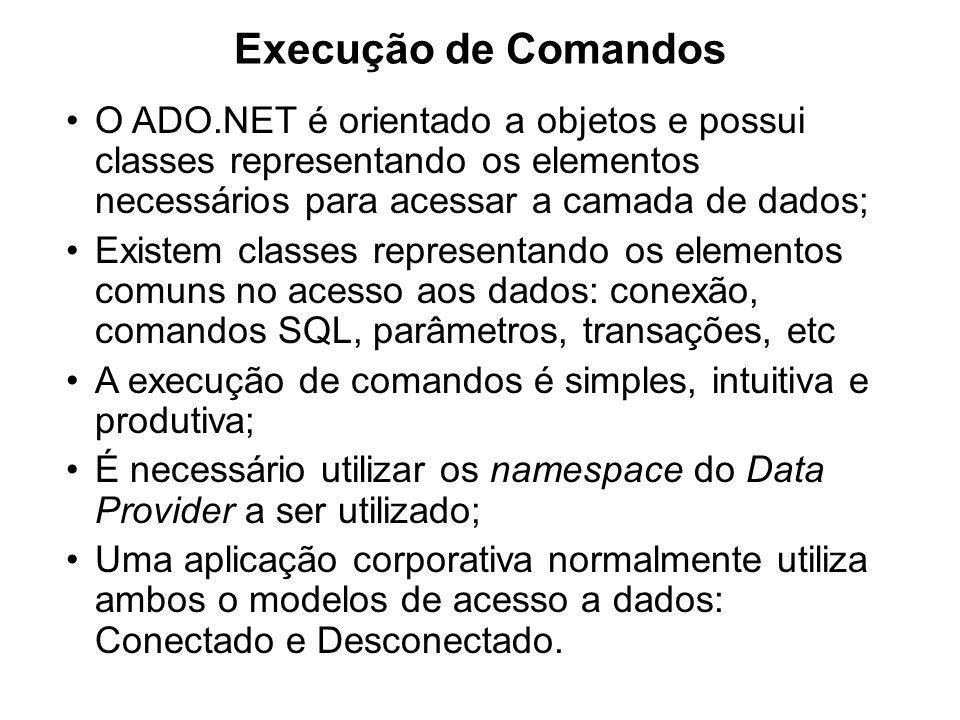 Execução de Comandos O ADO.NET é orientado a objetos e possui classes representando os elementos necessários para acessar a camada de dados;