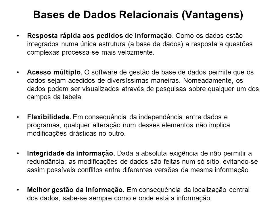 Bases de Dados Relacionais (Vantagens)