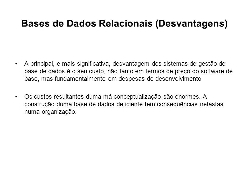 Bases de Dados Relacionais (Desvantagens)