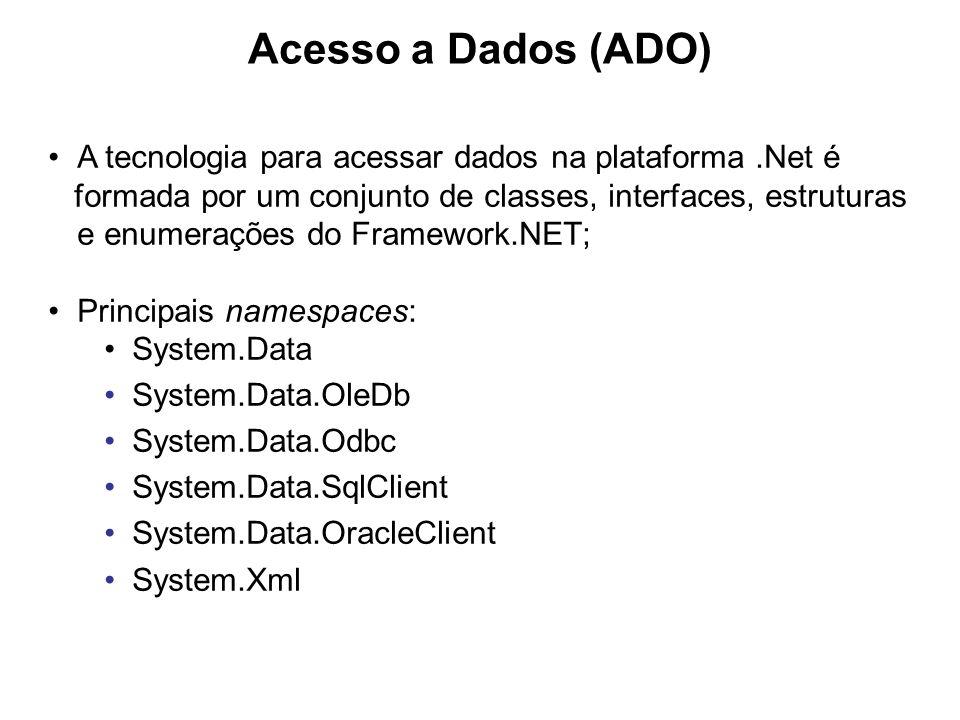 Acesso a Dados (ADO) A tecnologia para acessar dados na plataforma .Net é.