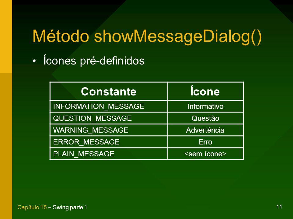 Método showMessageDialog()