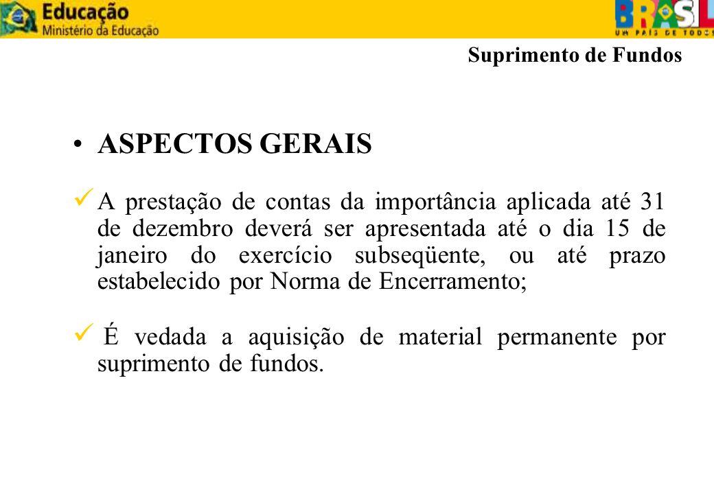Suprimento de Fundos ASPECTOS GERAIS.