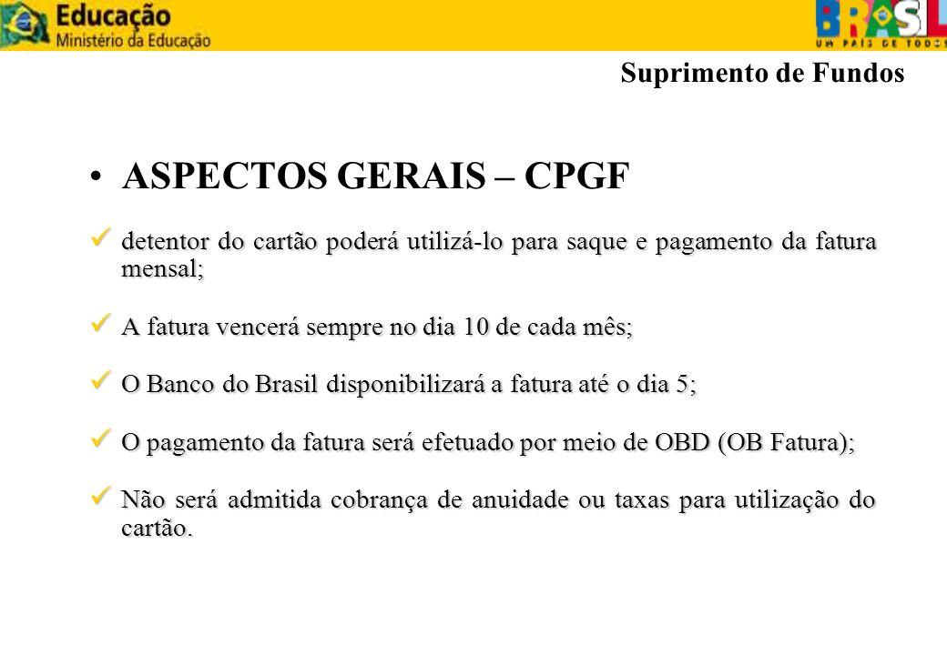 ASPECTOS GERAIS – CPGF Suprimento de Fundos