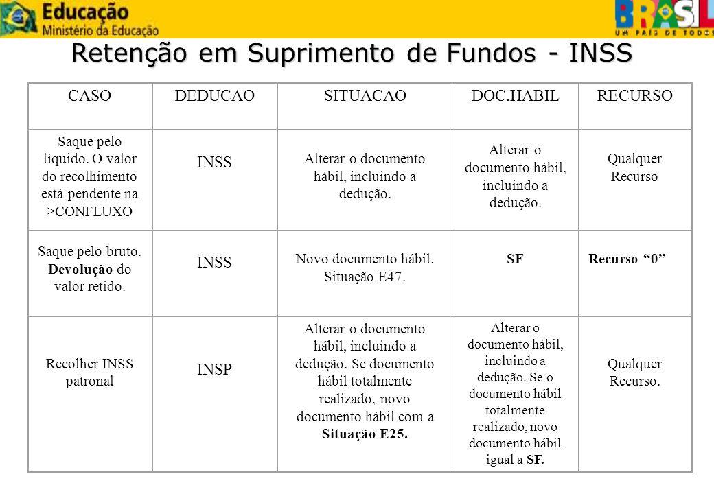 Retenção em Suprimento de Fundos - INSS