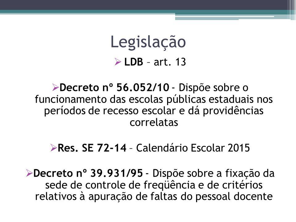 Res. SE 72-14 – Calendário Escolar 2015