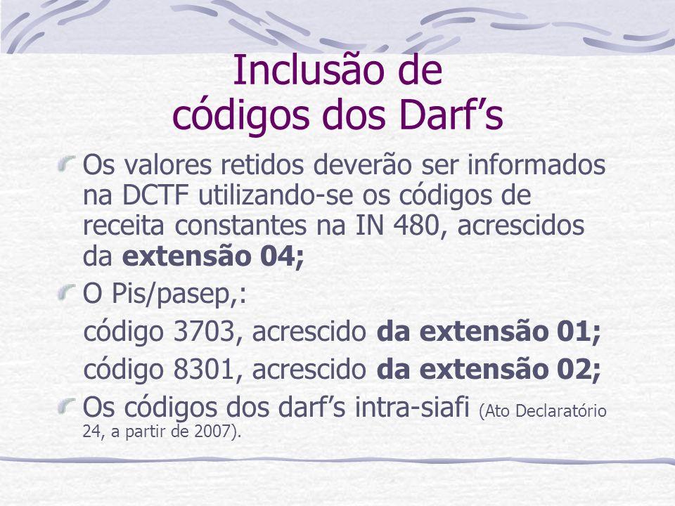 Inclusão de códigos dos Darf's