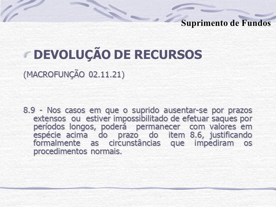 DEVOLUÇÃO DE RECURSOS Suprimento de Fundos (MACROFUNÇÃO 02.11.21)