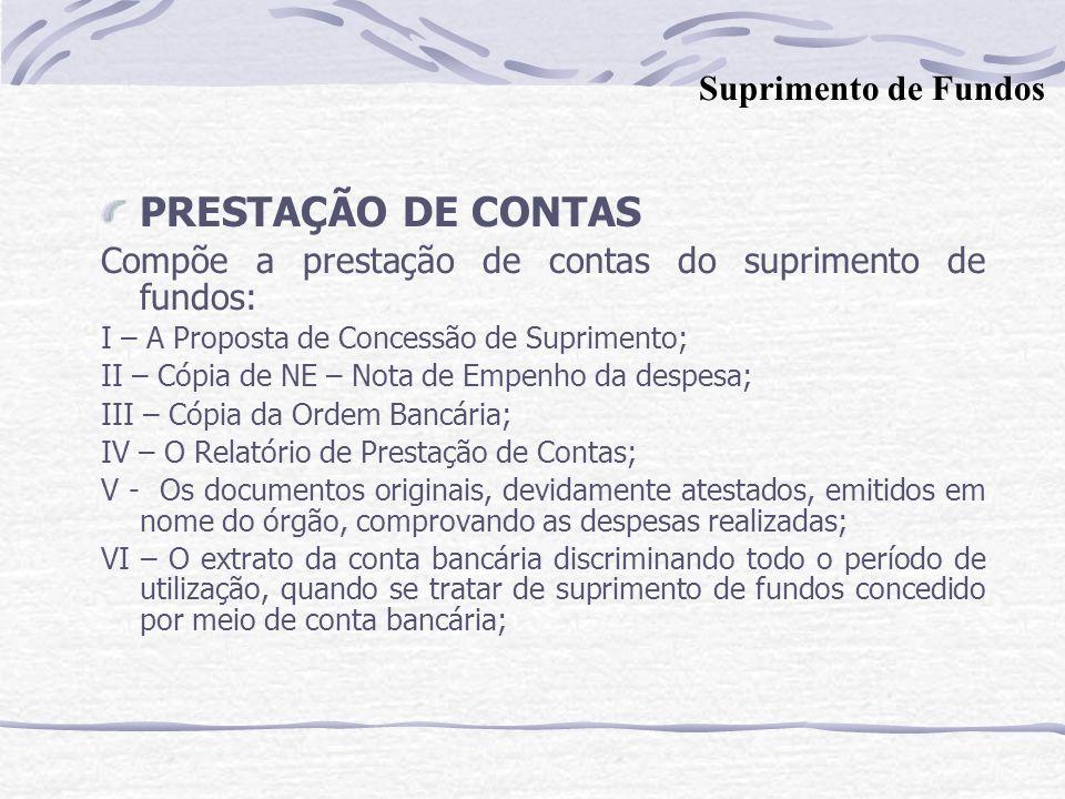 PRESTAÇÃO DE CONTAS Suprimento de Fundos