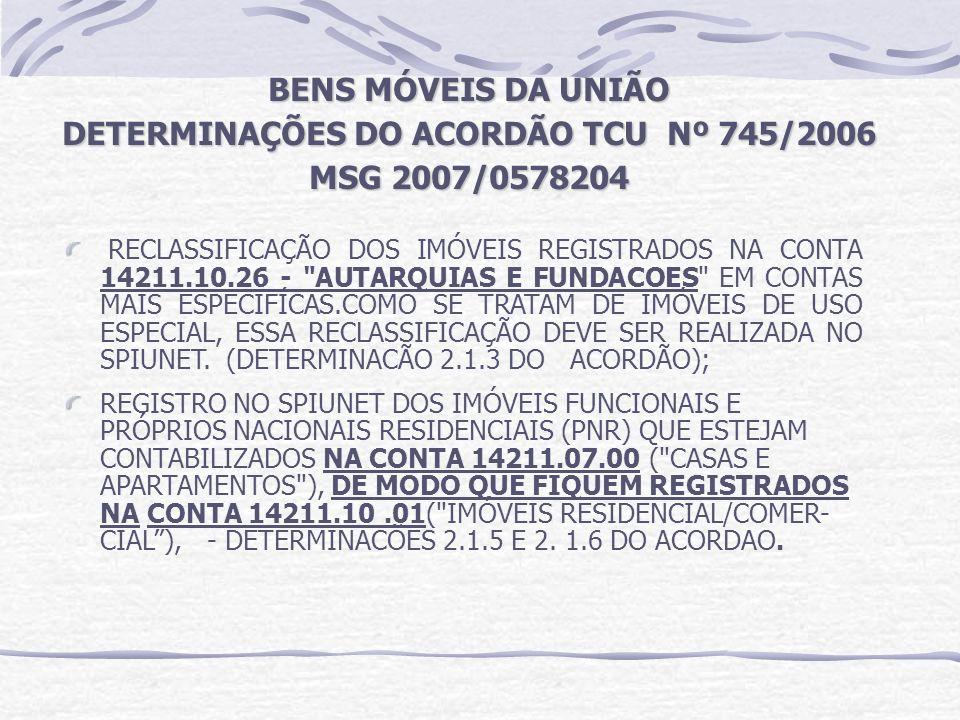 DETERMINAÇÕES DO ACORDÃO TCU Nº 745/2006