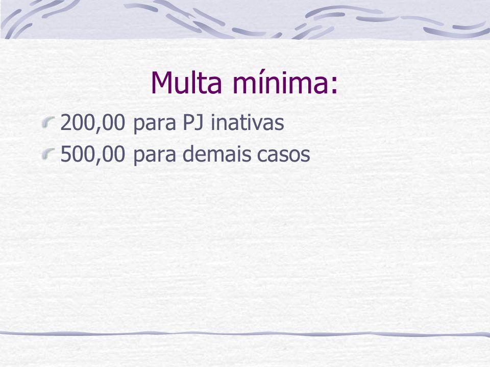 Multa mínima: 200,00 para PJ inativas 500,00 para demais casos