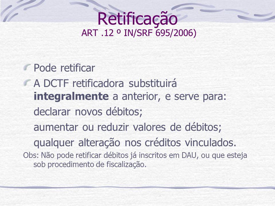 Retificação ART .12 º IN/SRF 695/2006)