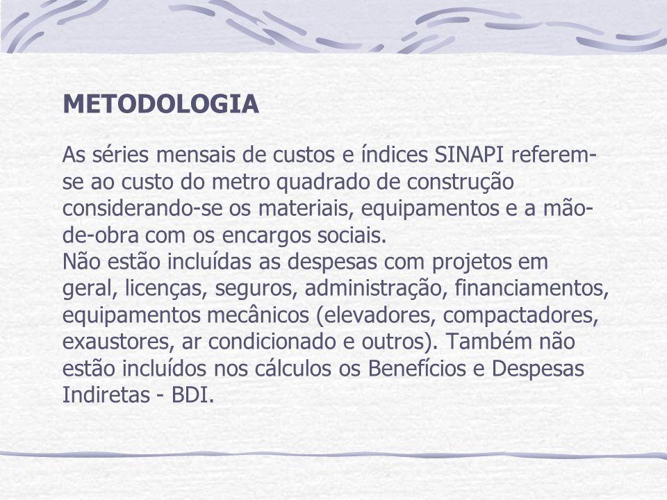 METODOLOGIA As séries mensais de custos e índices SINAPI referem-se ao custo do metro quadrado de construção considerando-se os materiais, equipamentos e a mão-de-obra com os encargos sociais.