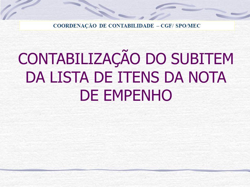 COORDENAÇÃO DE CONTABILIDADE – CGF/ SPO/MEC