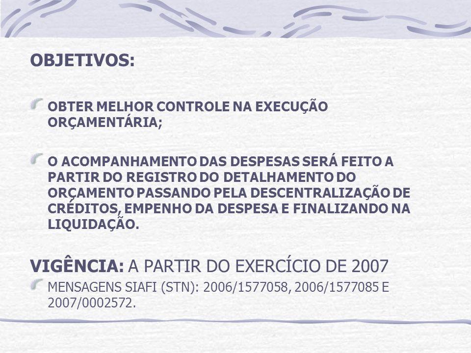 VIGÊNCIA: A PARTIR DO EXERCÍCIO DE 2007
