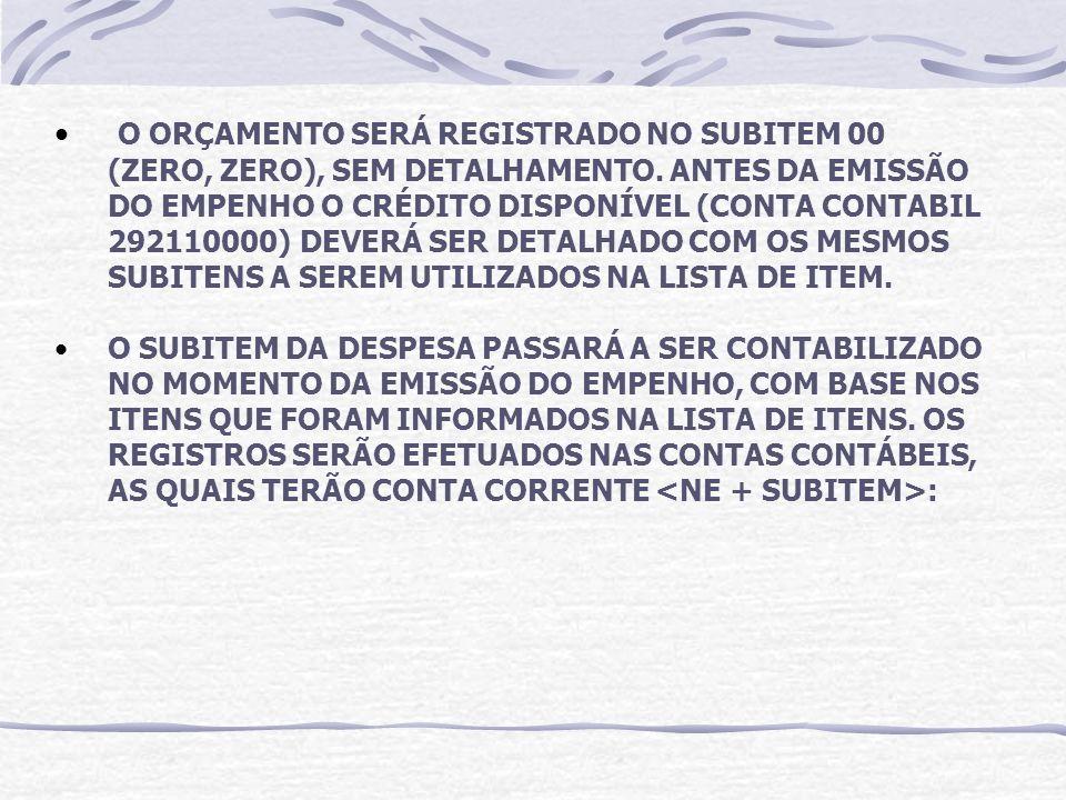 O ORÇAMENTO SERÁ REGISTRADO NO SUBITEM 00 (ZERO, ZERO), SEM DETALHAMENTO. ANTES DA EMISSÃO DO EMPENHO O CRÉDITO DISPONÍVEL (CONTA CONTABIL 292110000) DEVERÁ SER DETALHADO COM OS MESMOS SUBITENS A SEREM UTILIZADOS NA LISTA DE ITEM.
