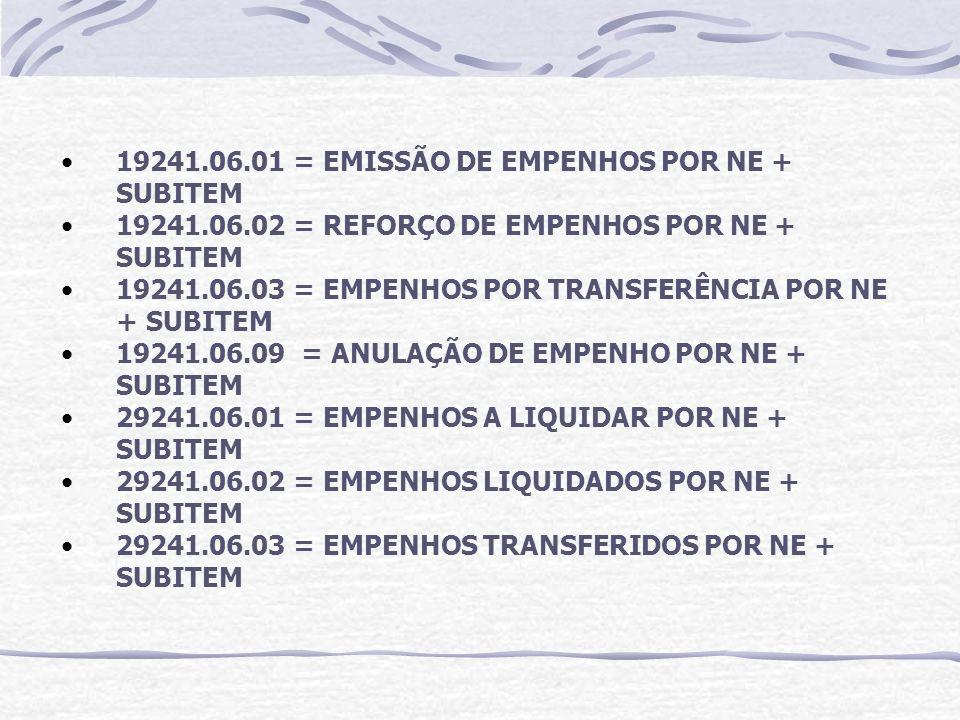 19241.06.01 = EMISSÃO DE EMPENHOS POR NE + SUBITEM