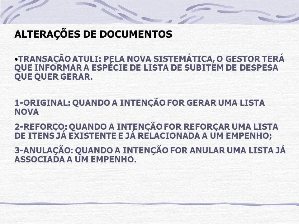 ALTERAÇÕES DE DOCUMENTOS