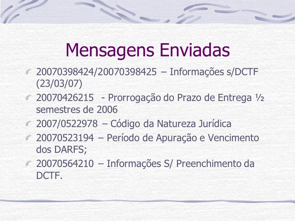 Mensagens Enviadas 20070398424/20070398425 – Informações s/DCTF (23/03/07) 20070426215 - Prorrogação do Prazo de Entrega ½ semestres de 2006.