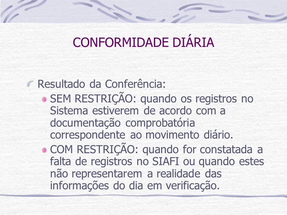 CONFORMIDADE DIÁRIA Resultado da Conferência: