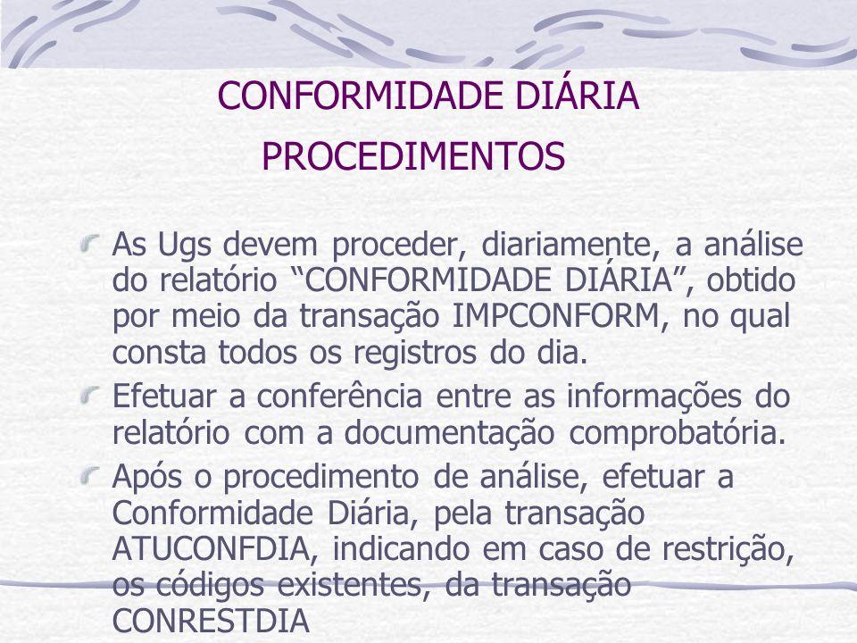 CONFORMIDADE DIÁRIA PROCEDIMENTOS